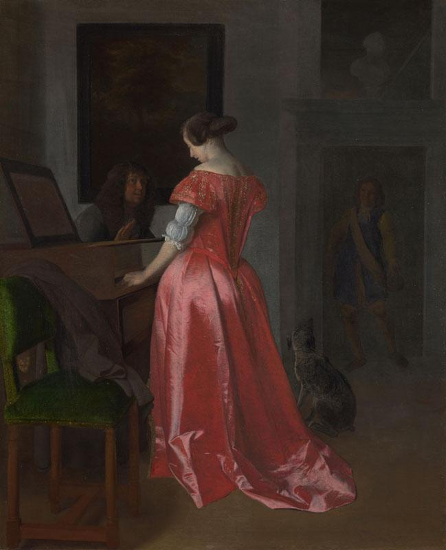 Jacob Ochtervelt - A Woman standing at a Harpsichord, a Man seated by her