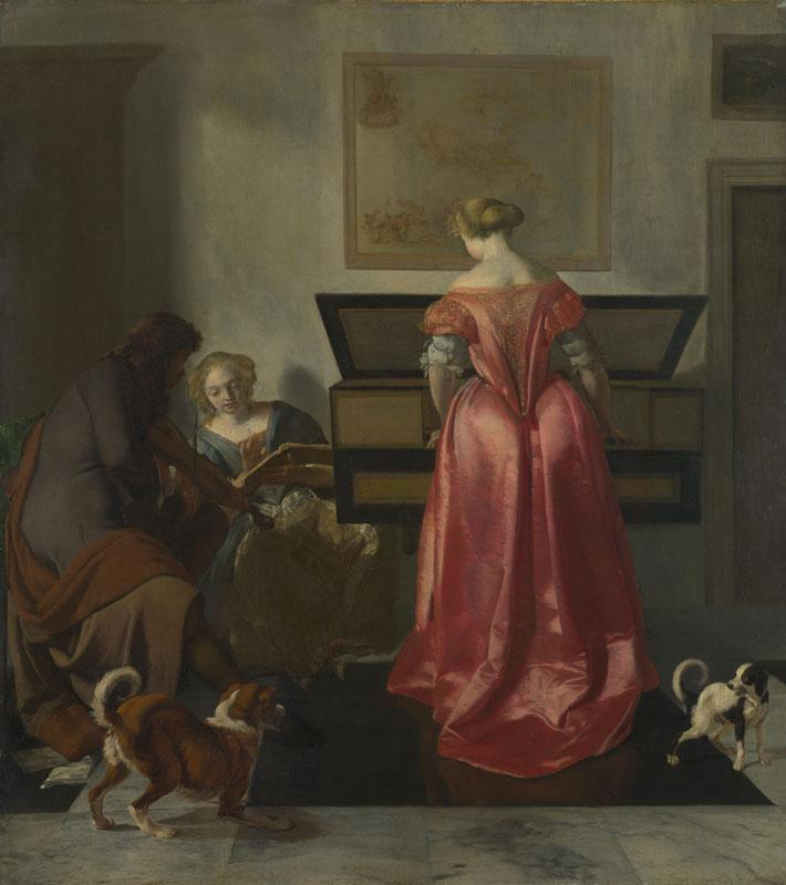 Jacob Ochtervelt - Two Women and a Man making Music