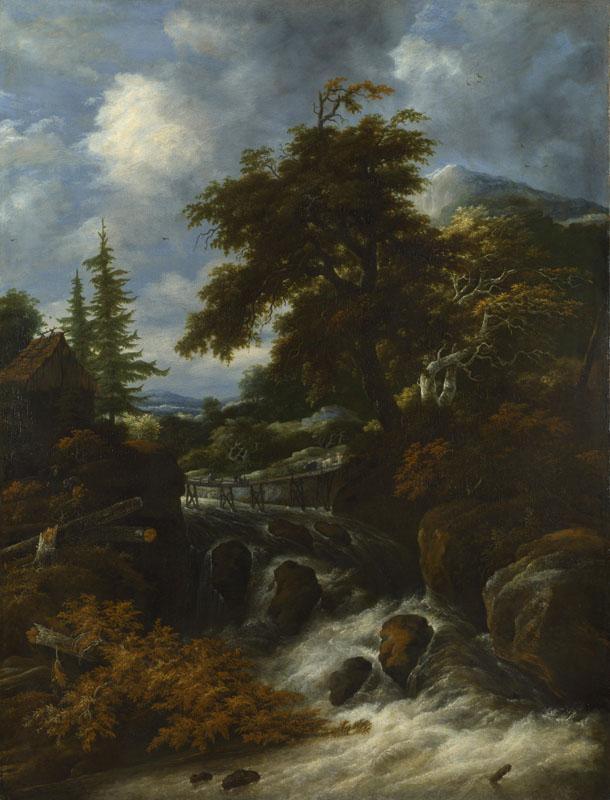Jacob Salomonsz. van Ruysdael - A Waterfall by a Cottage in a Hilly Landscape