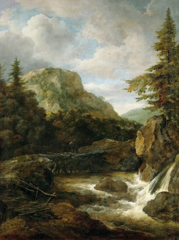 Jacob van Ruisdael (1628 or 1629-1682) -- Mountain Landscape with Waterfall