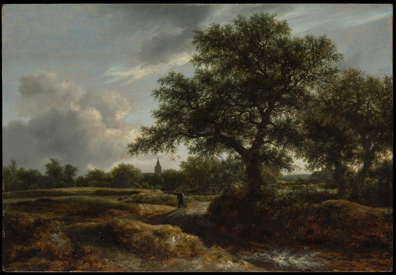 Jacob van Ruisdael--Landscape with a Village in the Distance