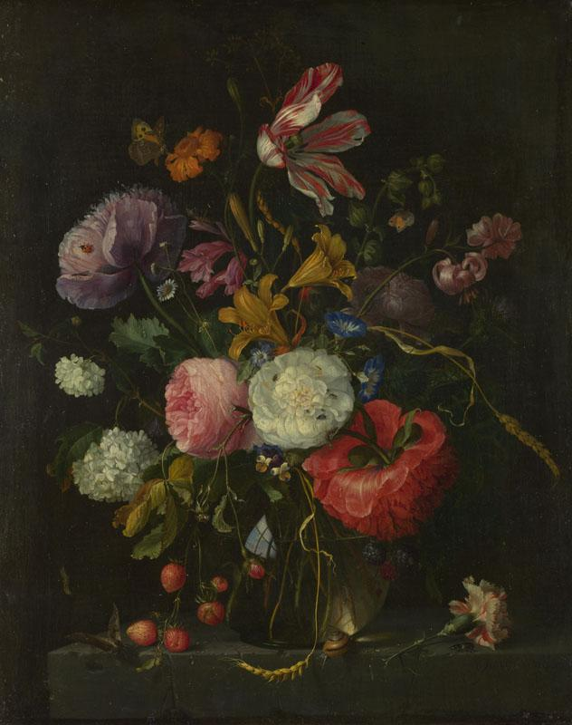 Jacob van Walscappelle - Flowers in a Glass Vase