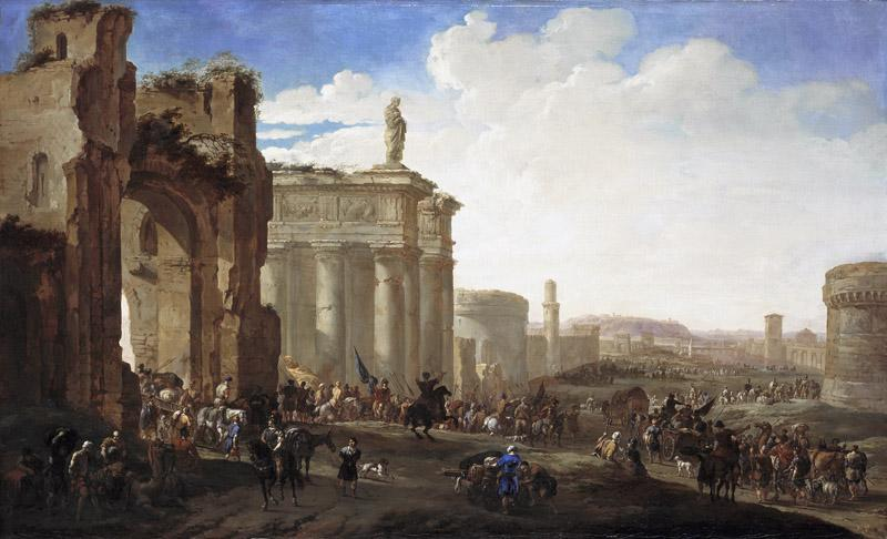 Jacob van der Ulft - Army Advancing among Roman Ruins