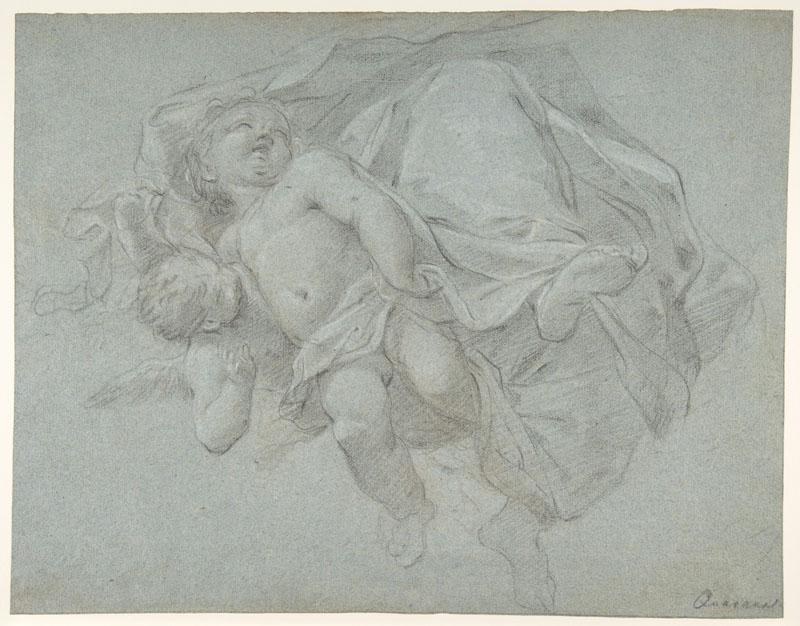 Jacopo Guarana--Two Putti Supporting the Lower Part of a Draped Figure