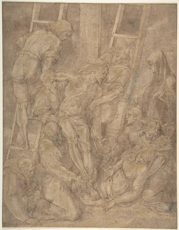 Jacopo Ligozzi--The Descent from the Cross with Saint Francis and Another Friar
