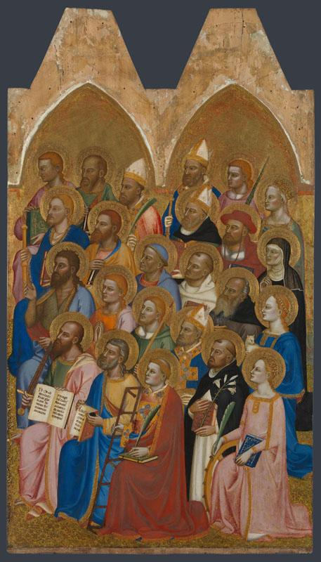 Jacopo di Cione and workshop - Adoring Saints - Right Main Tier Panel
