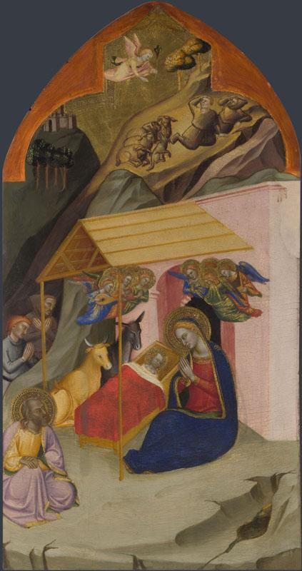 Jacopo di Cione and workshop - The Nativity and Annunciation to the Shepherds