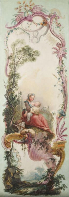 Jacques de LaJoue - Seven Decorative Panels Mounted in a Screen Mother Nursing Her Child, c.1730-