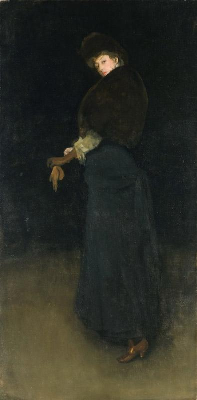 James Abbott McNeill Whistler, American (active England), 1834-1903 -- Arrangement in Black (The Lady in the Yellow Buskin)
