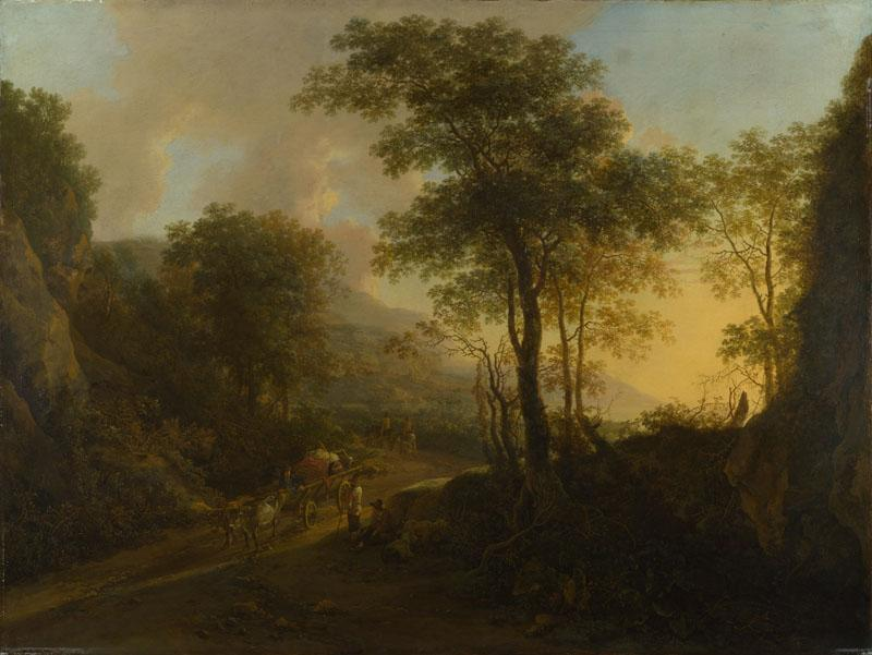 Jan Both - A Rocky Landscape with an Ox-cart