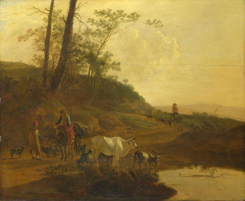 Jan Both - Men with an Ox and Cattle by a Pool