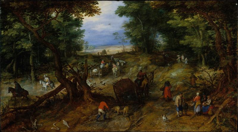 Jan Brueghel the Elder--A Woodland Road with Travelers