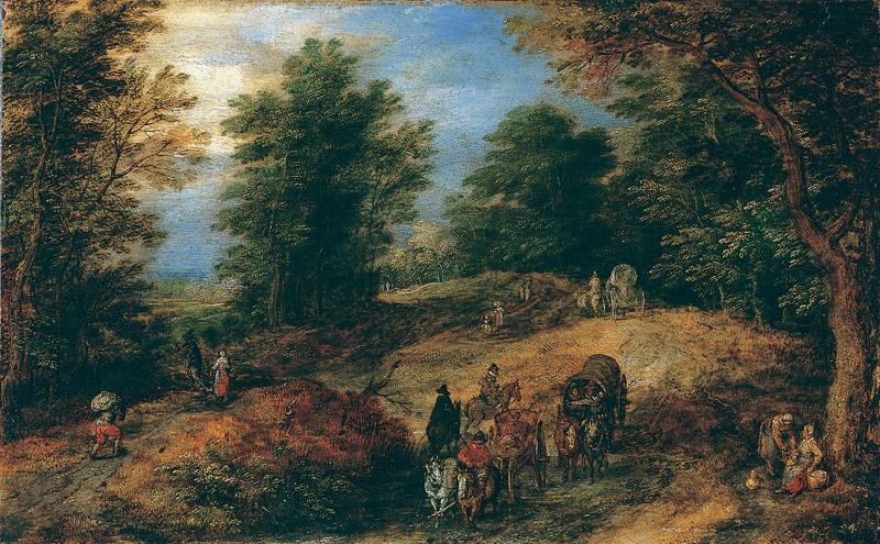 Jan Brueghel the Elder--Landscape with Travelers on a Woodland Path