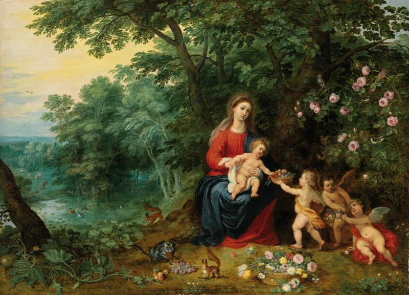 Jan Brueghel the Younger - Landscape with the Virgin and Child with Putti, c. 1626