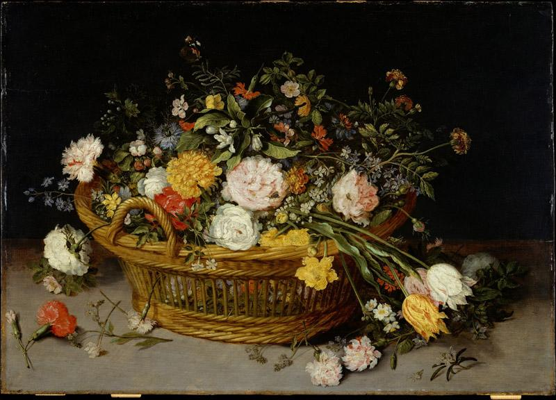 Jan Brueghel the Younger--A Basket of Flowers