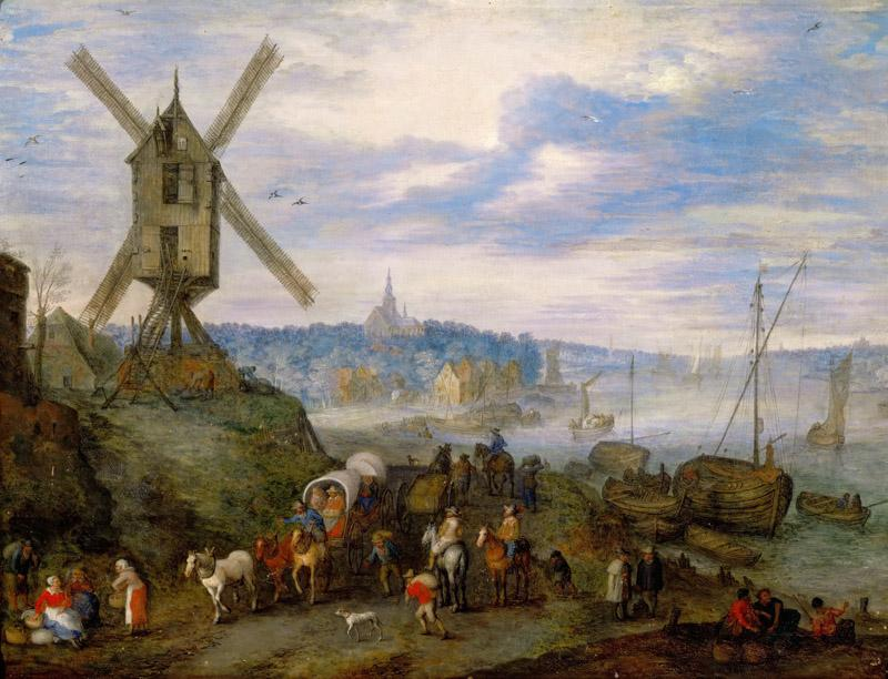 Jan Brueghel the elder -- Seaport with Windmill