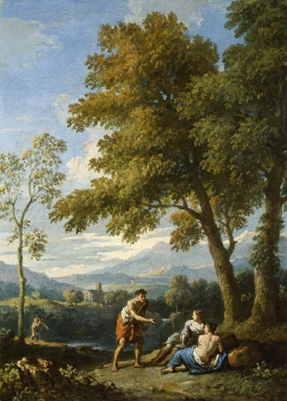 Jan Frans van Bloemen -- One of a Pair of Views of the Roman Campagna with Figures Conversing