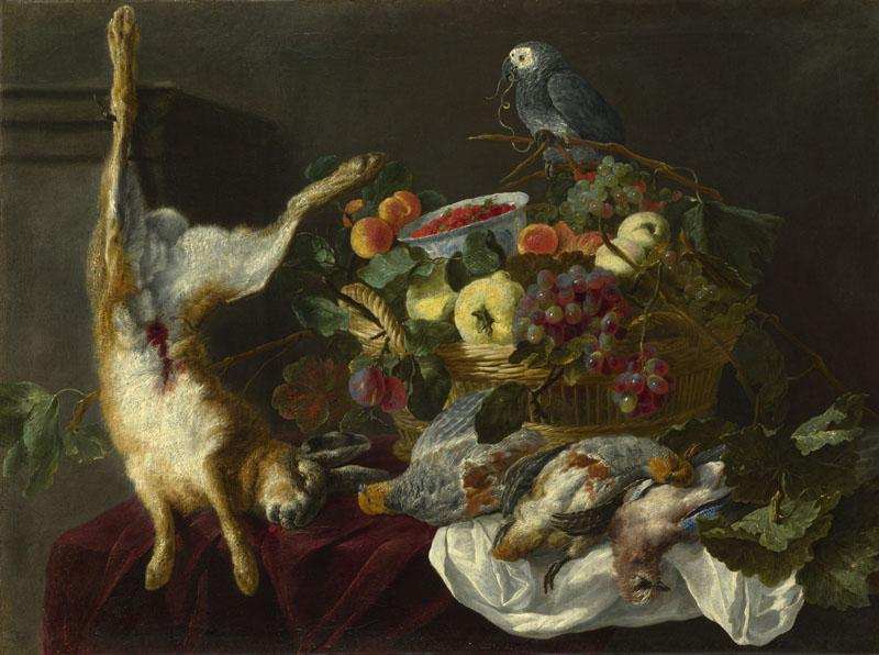 Jan Fyt - A Still Life with Fruit, Dead Game and a Parrot