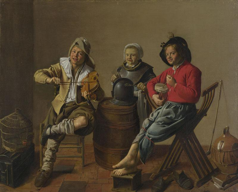 Jan Molenaer - Two Boys and a Girl making Music