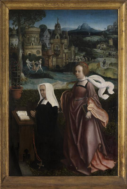 Jan Provoost - Donor with Saint Nicholas and donor wife with Saint Godeliva R