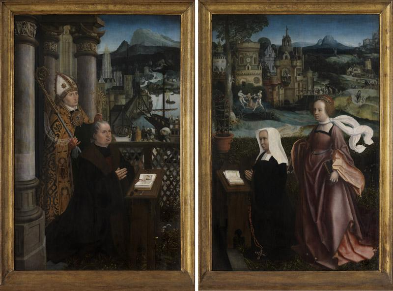 Jan Provoost - Donor with Saint Nicholas and donor wife with Saint Godeliva