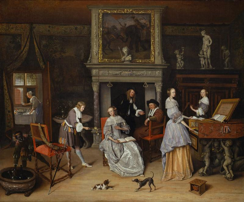 Jan Steen - Fantasy Interior with Jan Steen and the Family of Gerrit Schouten, ca. 1659-1660