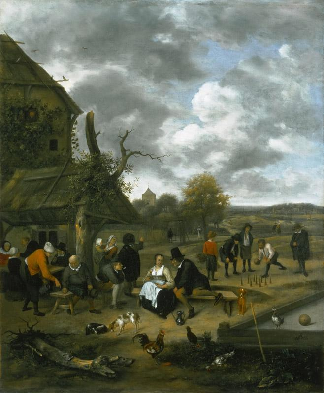 Jan Steen, Dutch (active Leiden, Haarlem, and The Hague), 1625-26-1679 -- Landscape with an Inn and Skittles