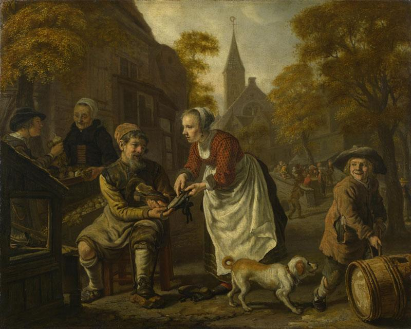 Jan Victors - A Village Scene with a Cobbler