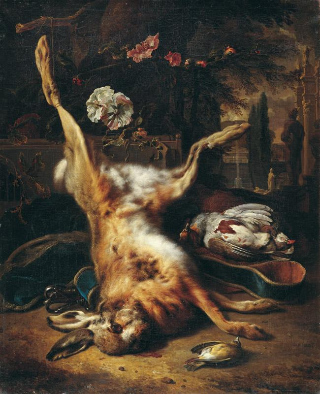 Jan Weenix d.J. - A Dead Rabbit, Hunting Utensils and Dead Birds