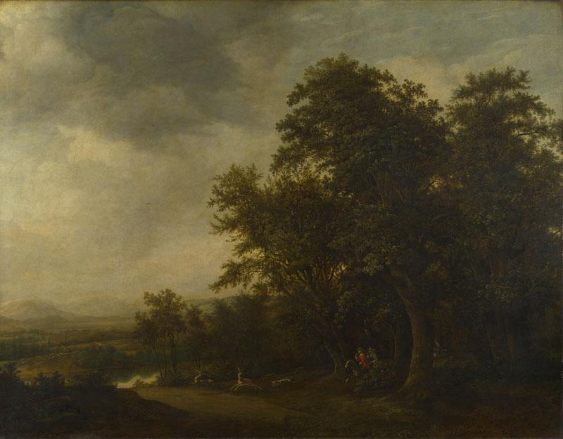 Jan de Lagoor - A Woody Landscape with a Stag Hunt