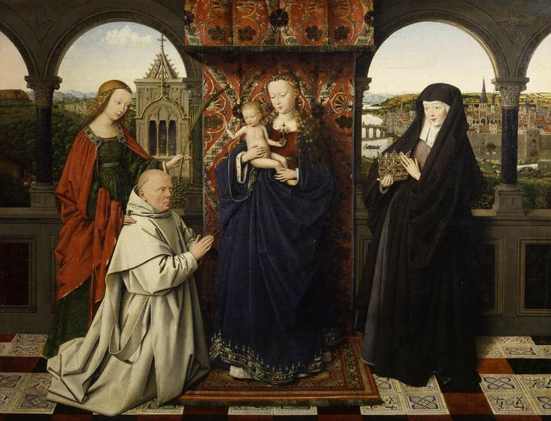 Jan van Eyck - Virgin and Child, with Saints and Donor, early 1440s