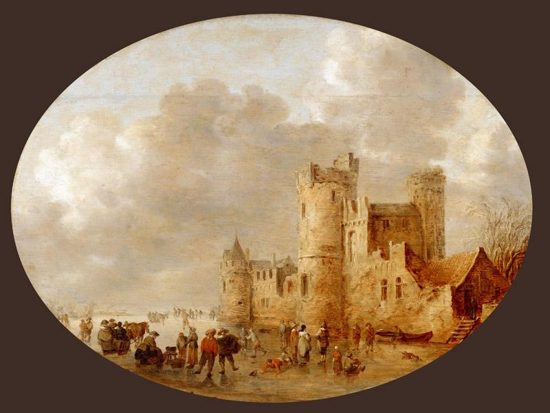 Jan van Goyen (1596-1656) -- Skaters near a Medieval Castle