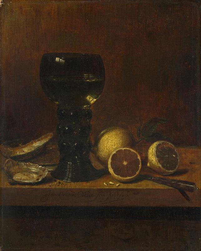 Jan van de Velde - Still Life - A Goblet of Wine, Oysters and Lemons