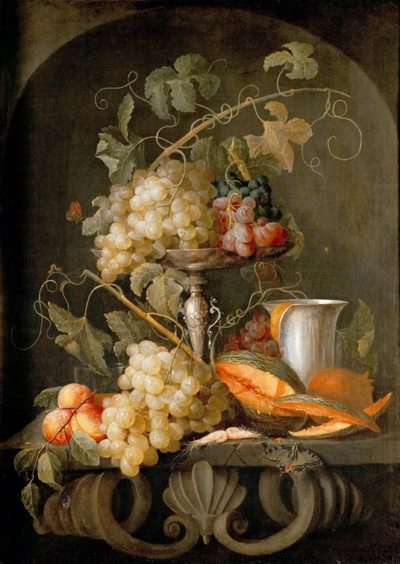 Jan van den Hecke the Elder (1620-1684) -- Still Life with Fruits