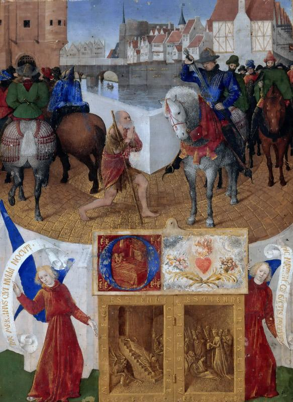 Jean Fouquet -- Saint Martin Sharing His Cloak with a Beggar, from the Book of Hours