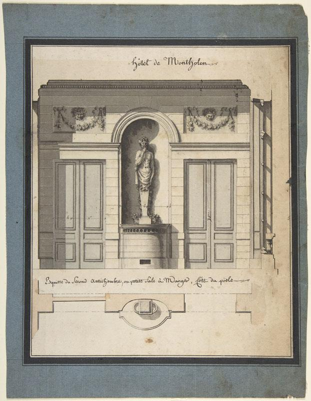 Jean Jacques Lequeu--Section and Plan of the Small Dining Room2
