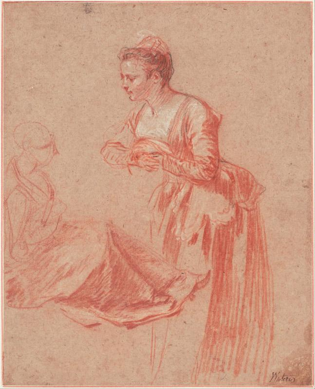 Jean-Antoine Watteau (1684 - 1721) (French)-Two Figure Studies of