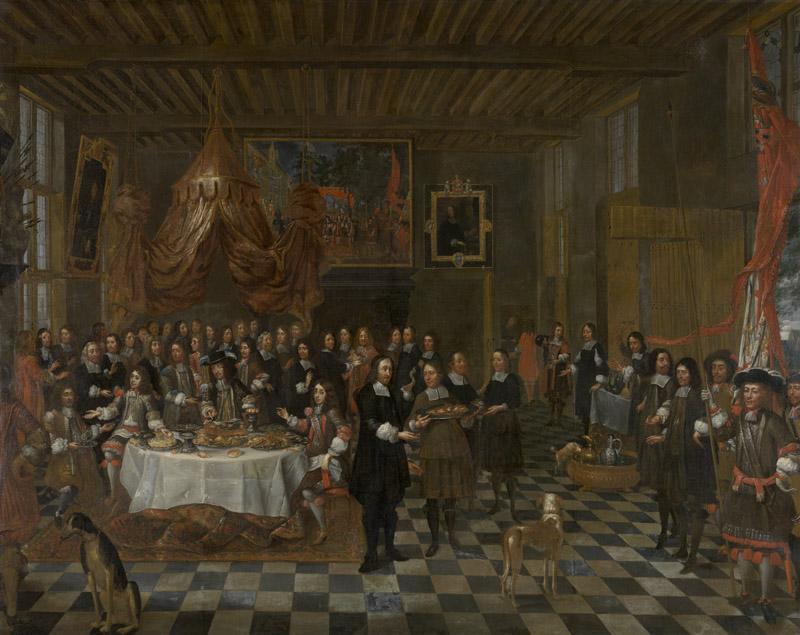 Jean-Baptist van Meuninckxhove - The Reception of Charles II and his Brothers in the Guild of Saint Barbara in Bruges