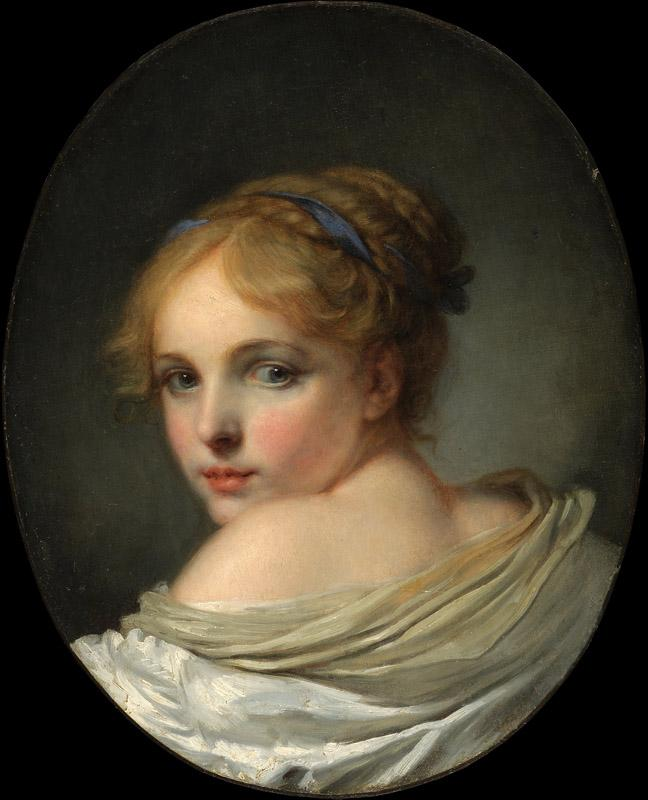 Jean-Baptiste Greuze - Head of a Girl, 18th century