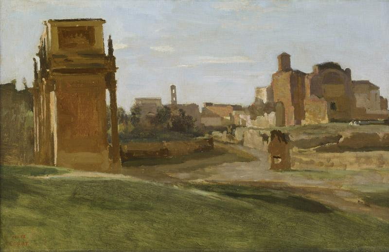 Jean-Baptiste-Camille Corot  - The Arch of Constantine and the Forum, Rome, 1843