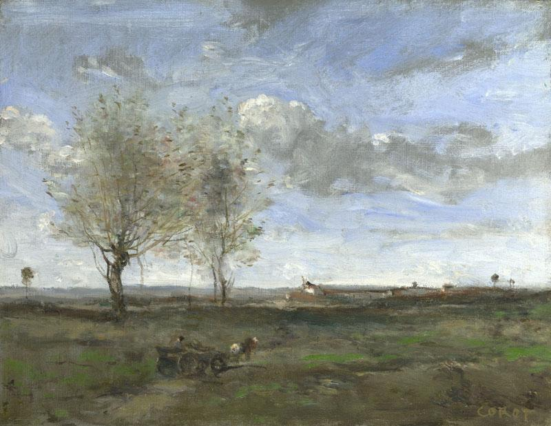 Jean-Baptiste-Camille Corot - A Wagon in the Plains of Artois