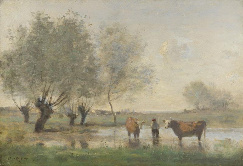 Jean-Baptiste-Camille Corot - Cows in a Marshy Landscape
