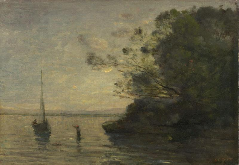 Jean-Baptiste-Camille Corot - Evening on the Lake