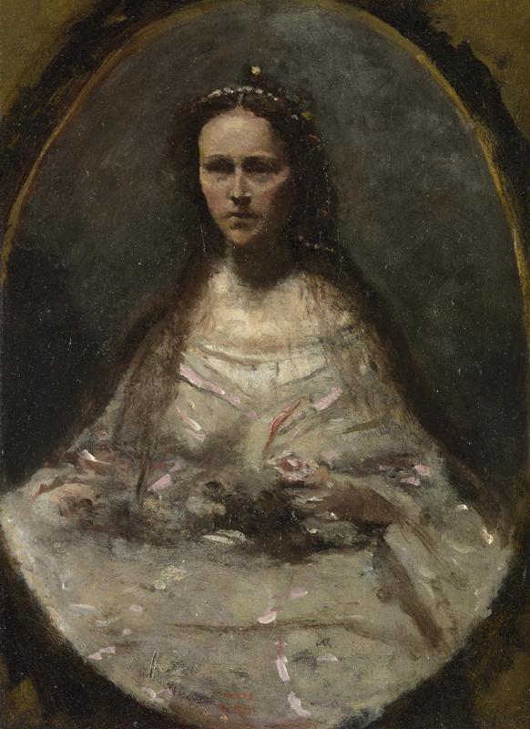 Jean-Baptiste-Camille Corot - Sketch of a Woman in Bridal Dress