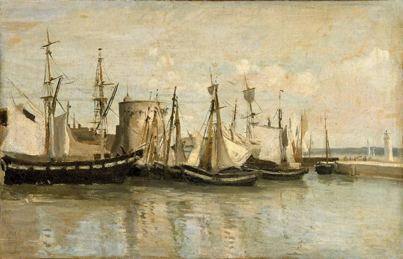 Jean-Baptiste-Camille Corot -- Entry to the port of La Rochelle