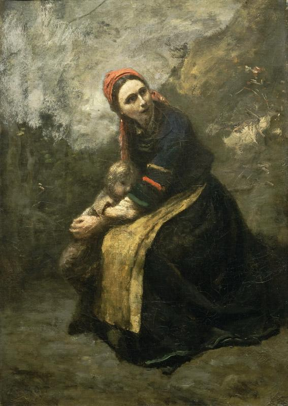 Jean-Baptiste-Camille Corot, French, 1796-1875 -- Mother Protecting Her Child