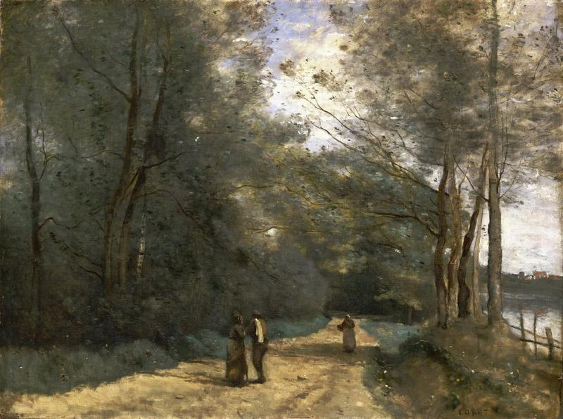 Jean-Baptiste-Camille Corot, French, 1796-1875 -- Wooded Path near Ville d Avray