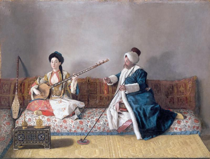 Jean-Etienne Liotard -- Madame Levett and Mademoiselle Glavni in Turkish costume