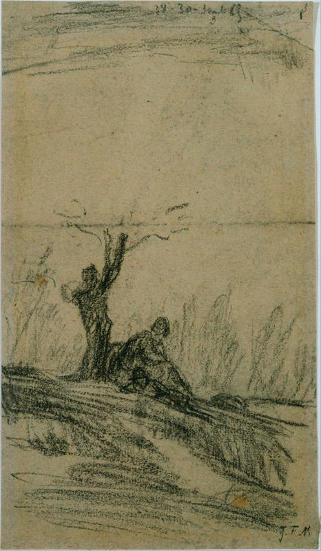 Jean-Francois Millet (1814 - 1875) (French)-Figure Seated Under a Tree