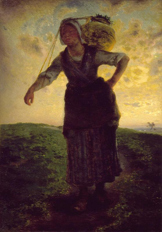 Jean-Francois Millet - A Norman Milkmaid at Greville